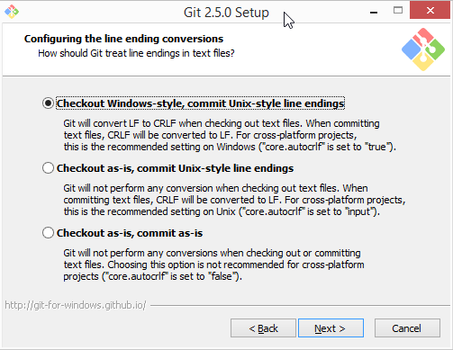 Git for Windows Installer: core.autocrlf