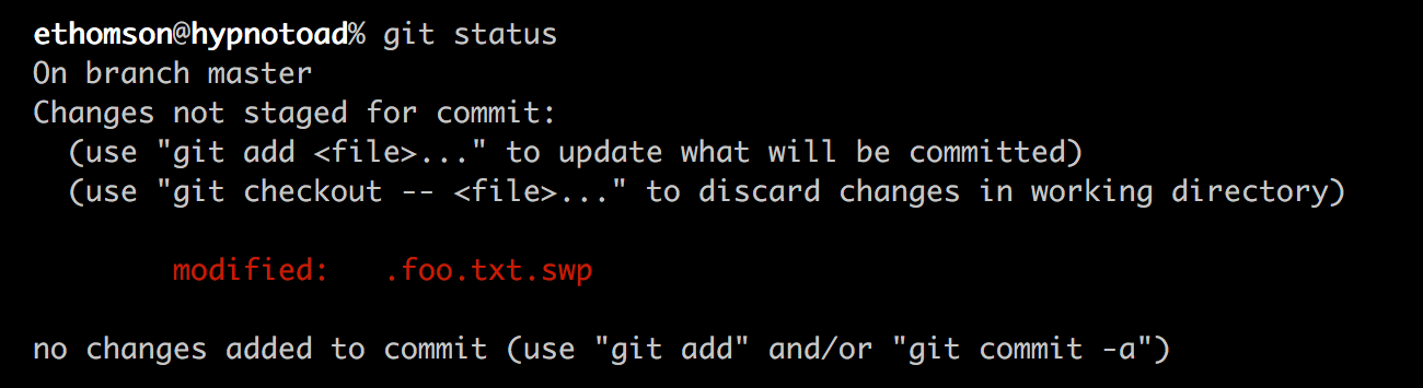 git status with an incorrectly ignored file